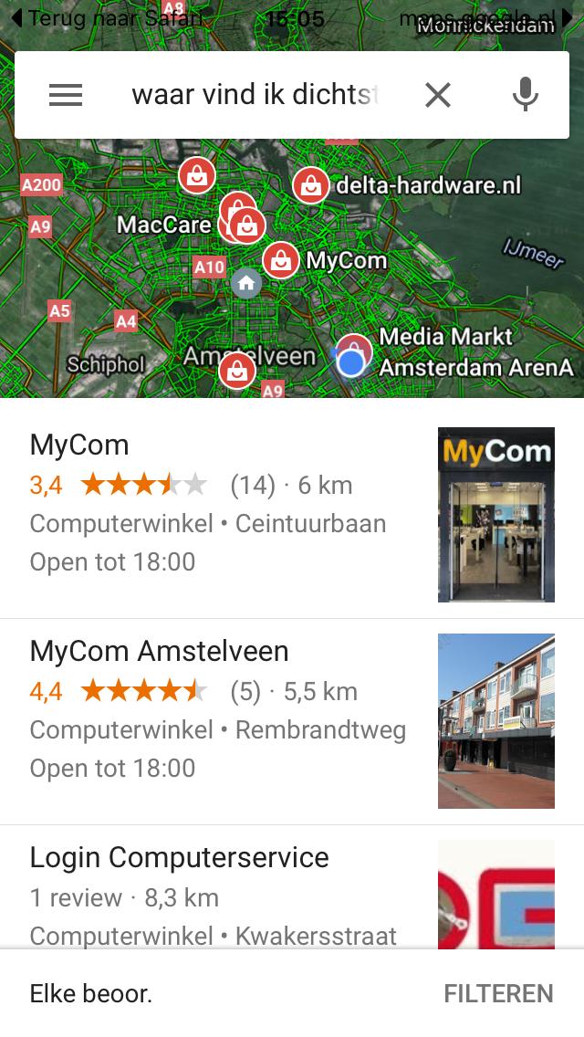 google_maps_zoekopdracht_computerwinkel_amsterdam