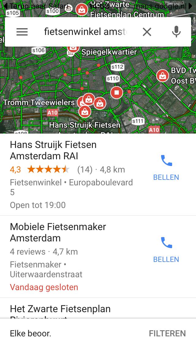 google_maps_zoekopdracht_fietsenwinkel_amsterdam
